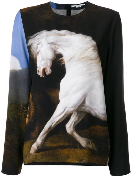Stella McCartney - Running Horse print top - women - Silk/Spandex/Elastane/Viscose - 44, Black, Silk/Spandex/Elastane/Viscose