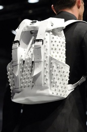 bag,white,backpack,studed,white spiked,2 buckle,drawstring