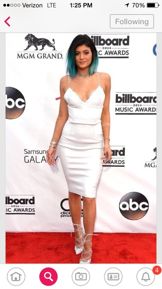 dress kylie jenner white deep v