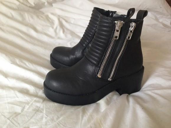 zipper boots chunky chucky boots chunky heel heel zips edgy