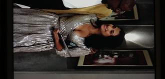 dress empire silver pleated dress pleated three-quarter sleeves