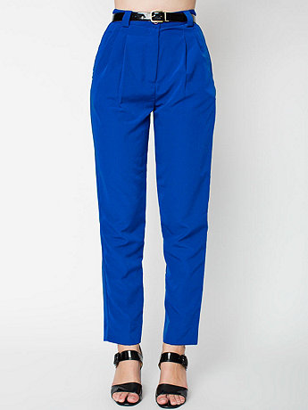 Micro-Poly High-Waist Pleated Pant | American Apparel