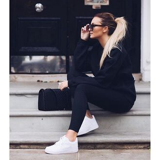 leggings blouse glasses white shoes tennis shoes black black and white
