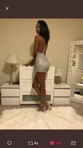 dress,clothes,sequin dress,criss cross back,crossed back,silver dress,mini dress