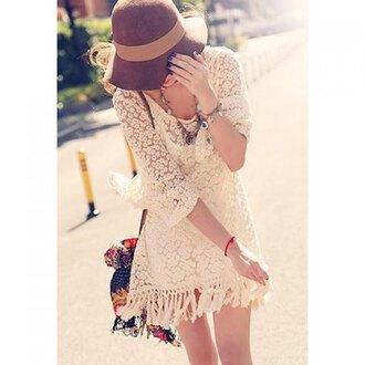 dress lace fashion summer spring fringes boho three-quarter sleeves rose wholesale-ap