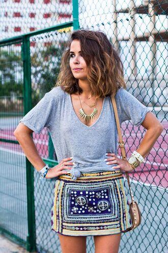 skirt blogger mini skirt printed skirt t-shirt grey t-shirt necklace bracelets collage vintage summer outfits embroidered skirt embroidered bag nude bag shoulder bag summer top