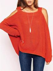 sweater,Choies,light-brwon,side-split-jumper,cold-Shoulder,long-sleeve