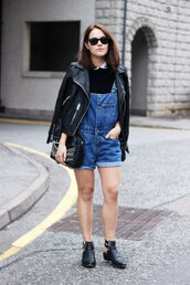 the little magpie,jacket,bag,shoes,t-shirt,overalls,denim overalls,romper,leather jacket,all saints,boots,black boots,zara,cos,blogger,hipster,cute,leather,perfecto,jumpsuit,short overalls,spring outfits