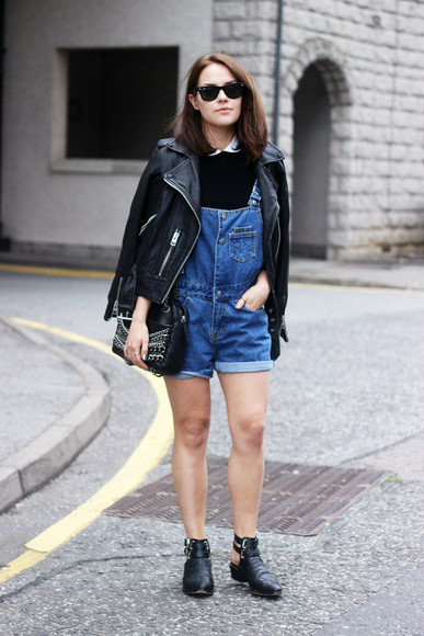 shoes cute bag the little magpie jacket t-shirt overalls denim overalls romper leather jacket all saints all saints leather jacket boots black boots zara cos blogger hipster