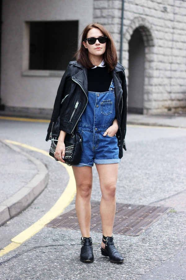 the little magpie jacket bag shoes t-shirt overalls denim overalls romper leather jacket all saints all saints boots black boots zara cos blogger hipster cute leather perfecto perfecto jumpsuit short overalls spring outfits