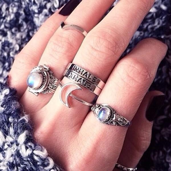 jewels ring boho grunge tumblr gemstone moon
