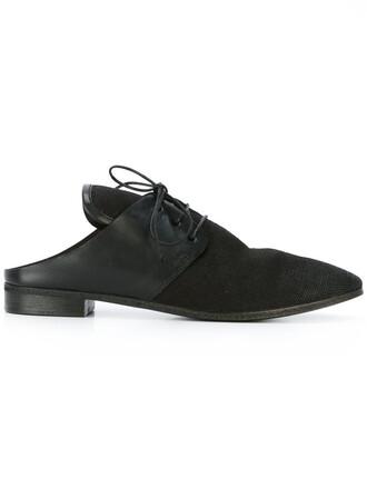 women backless shoes lace-up shoes lace leather cotton black