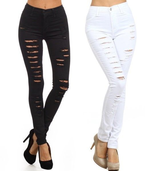 SIZE BLACK WHITE DENIM HIGH WAIST DISTRESSED RIPPED SKINNY LEG ...