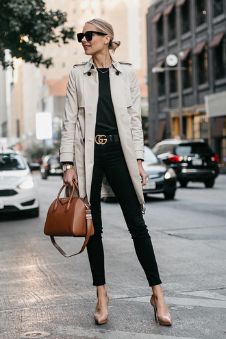 fashionjackson blogger coat sweater jeans shoes belt bag sunglasses jewels fall outfits handbag gucci belt pumps high heel pumps black jeans trench coat grey coat