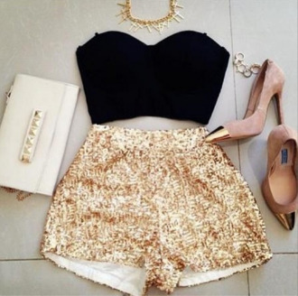 shorts gold gold sequins gold shorts shimmer sequins sequin shorts champagne gold elegant datenight date outfit pretty girly tumblr clothes tumblr outfit beautiful cute shorts cute shoes bag top