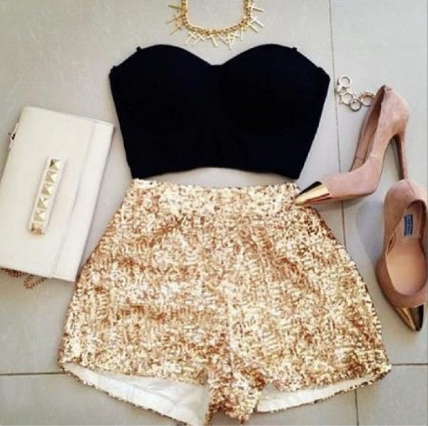 shorts gold gold sequins gold shorts shimmer sequins Sequin shorts champagne gold elegant date outfit date outfit pretty girly tumblr clothes tumblr outfit beautiful cute shorts cute shoes bag top