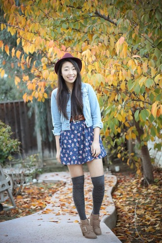 joyful outfits blogger denim jacket knee high socks floral skirt dress hat shoes socks jacket