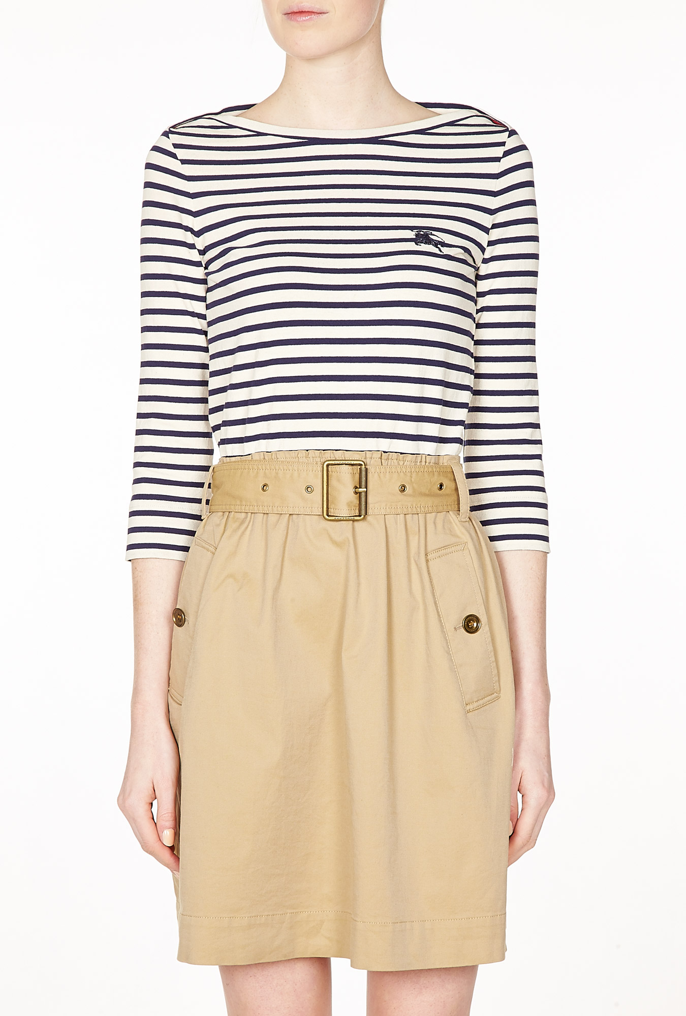 Stripe Jersey Top with Trench Skirt Dress by Burberry Brit