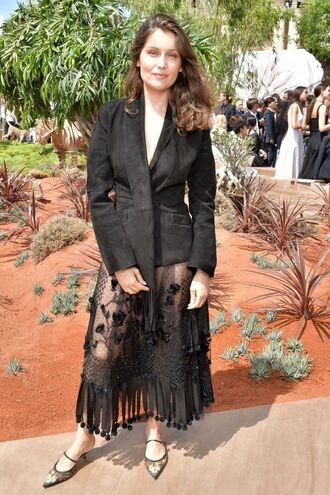 skirt lace dress lace midi skirt see through blazer laetitia casta model off-duty dior fashion week 2017 paris fashion week 2017