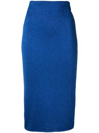 skirt pencil skirt metallic women blue
