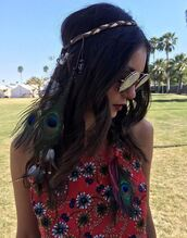 hair accessory,top,hairstyles,hair,sunglasses,coachella,festival,nina dobrev,instagram,music festival