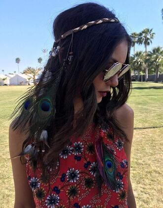 hair accessory top hairstyles hair sunglasses coachella festival nina dobrev instagram music festival