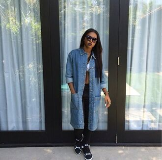 denim coat dope long black pants shoes sneakers black girls killin it african american glasses bralette cute fierce urban streetstyle streetwear jacket jean jacket for girls denim jacket shirt denim shirt button up shirt oversized t-shirt trench coat oversized jacket jeans