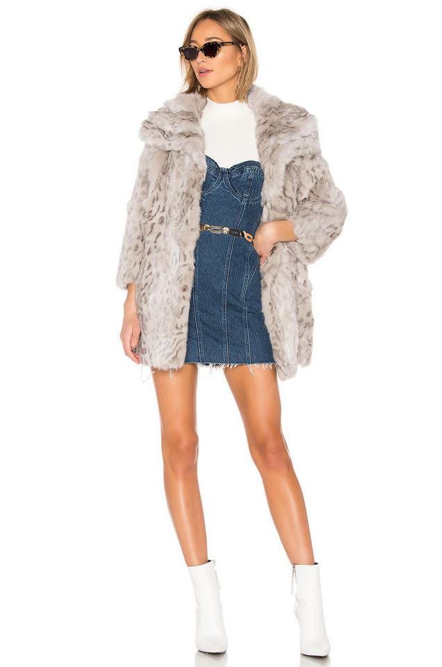 Adrienne Landau Rabbit Coat in gray