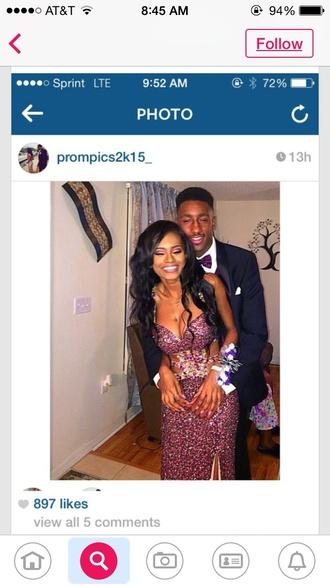 dress prom dress long purple sequin dress