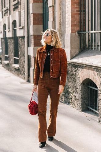 pants brown pants corduroy corduroy pants jacket corduroy jacket brown jacket top black top sunglasses