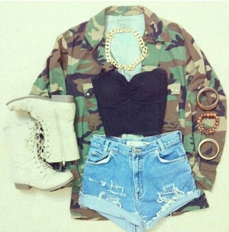 shirt casual black clothes shorts jacket camo jacket camouflage combat boots strapless shoes jewels