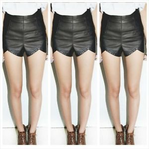 Women Faux Leather High Waist Punk Slim Skinny Shorts Pants | eBay