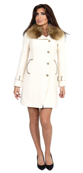 Soia & kyo ren classic ivory fitted wool coat with fur collar