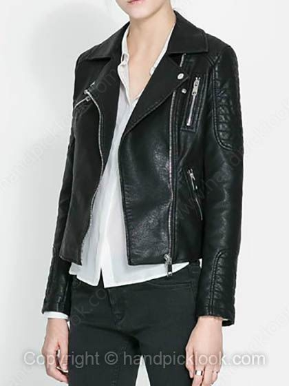 Black Lapel Long Sleeve Fashion PU Jacket - HandpickLook.com