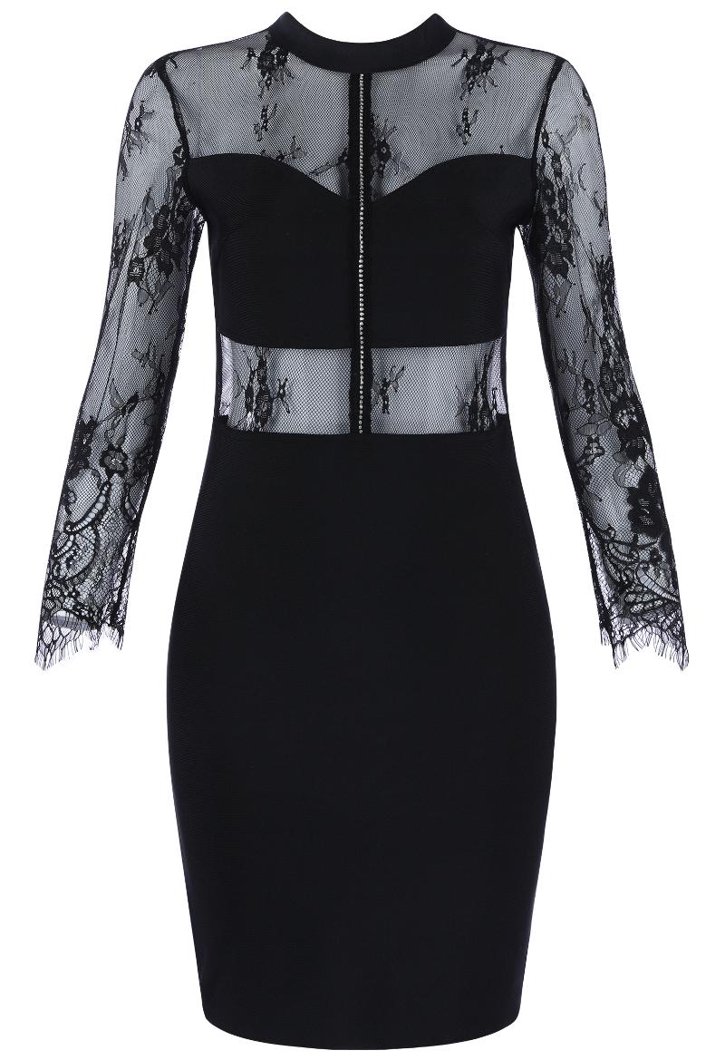 Long Sleeve Lace Bandage Dress Black