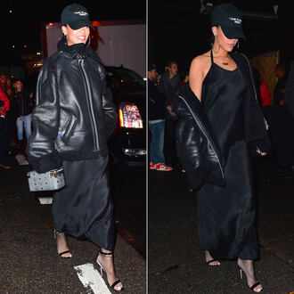 dress maxi dress gown rihanna jacket sandals hat all black everything shoes