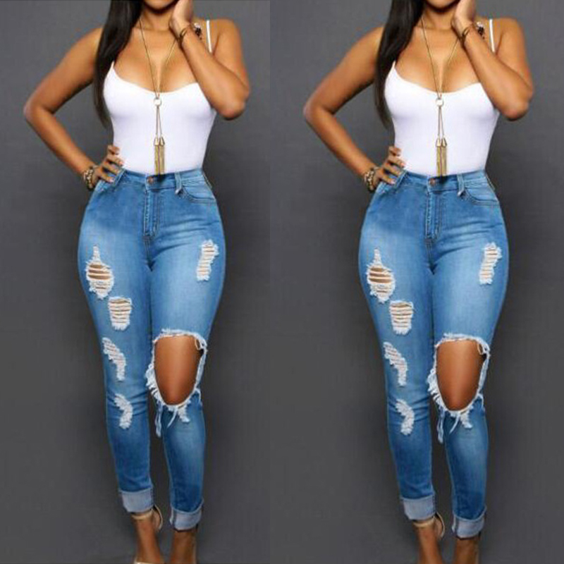 Womens Stretchy Faded Ripped Jeans Slim Fit Skinny Trousers Denim Long Pants