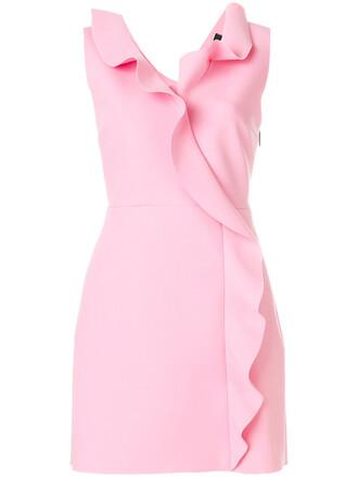 dress ruffle dress sleeveless ruffle women spandex purple pink