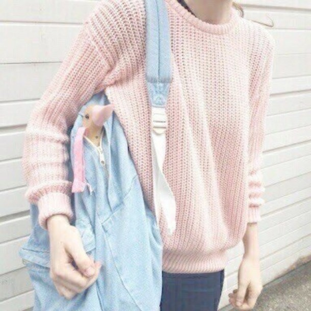 sweater bag pink pastel pastel sweater knitted sweater blue cute kawaii