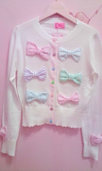 sweater cardigan button up white button up top kawaii cute ribbons bows bow pink pink bow pastel green blue purple lovely soft