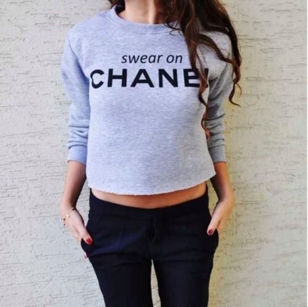 sweater grey sweater chanel swear girly black belly tanned brunette curly hair