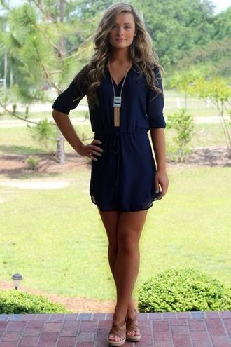 dress navy blue short dress summer