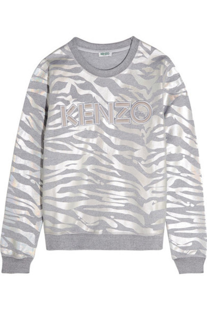 be015a8d Kenzo KENZO - Iridescent Tiger-print Cotton-jersey Sweatshirt - Silver