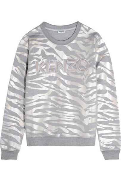 sweatshirt tiger iridescent silver cotton print sweater