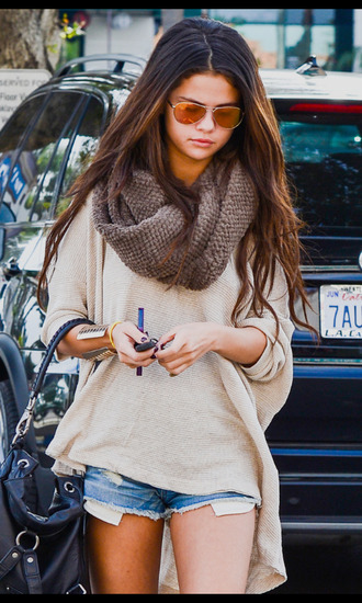 sunglasses bag scarf blouse selena gomez