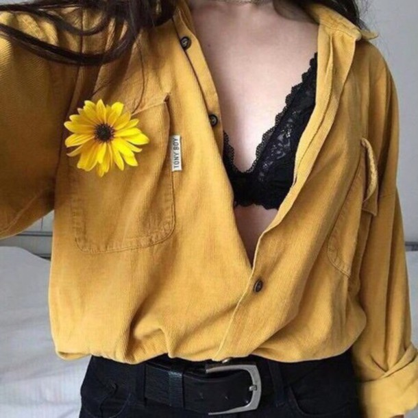 Blouse, Yellow, Alternative, Indie, Shirt, Sweater, Button