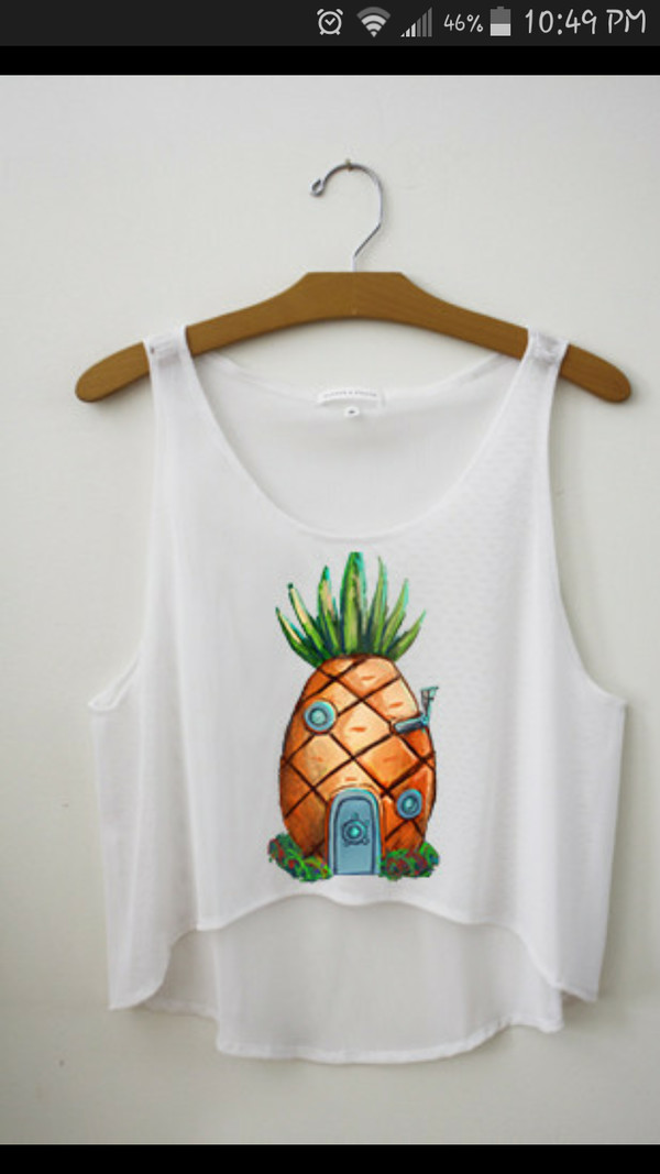 white tank top spongebob pineapple