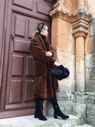 trini blogger sunglasses coat skirt shoes bag jewels fur coat