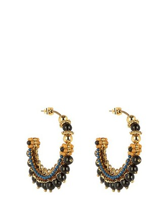 embellished earrings hoop earrings gold blue jewels