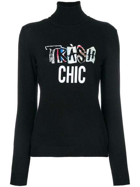 sweater vintage chic women black wool